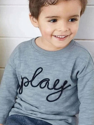 Lets Play Set with Long Sleeved Grey T-Shirt &  Matching Trousers - Boys 1 to 7 years - Stylemykid.com