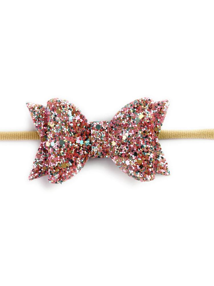 Baby Wisp - Courtney Bow Headband - Pink Glitter - Stylemykid.com