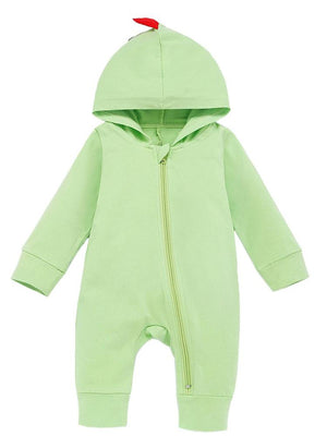Light Green Dinosaur Hooded Onesie with Coloured Spikes - Stylemykid.com