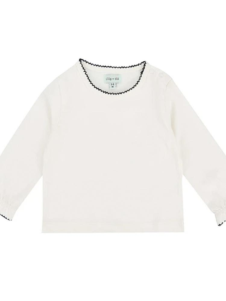 Lilly & Sid Pretty Organic White/ Ecru Layering Top with Blue Trim - Stylemykid.com