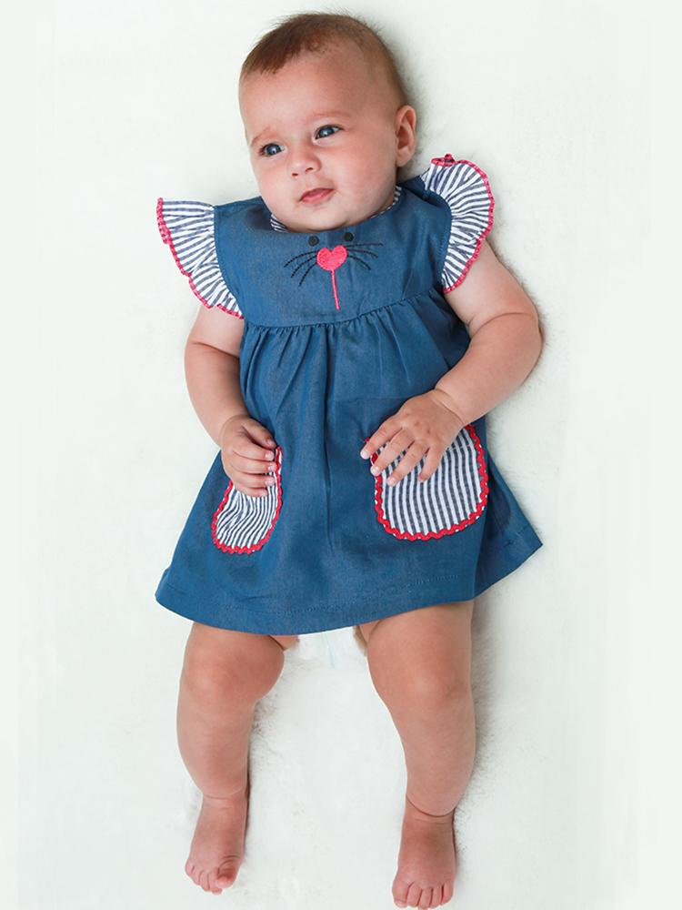 Lilly & Sid Organic Navy Character Baby Dress - Stylemykid.com