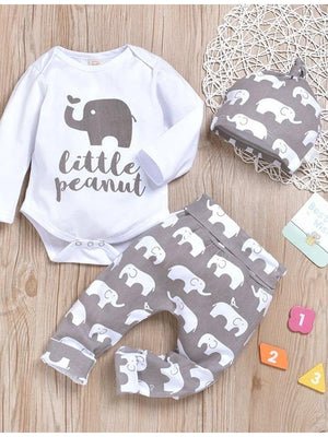 Grey and White 3 Piece Baby Outfit - Elephant Pattern Bodysuit & Pants & Headband - Stylemykid.com
