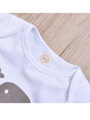 Grey & White Little Peanut 3 Piece Baby Outfit - Bodysuit, bottoms & Knotted Hat (12-18 months) - Stylemykid.com