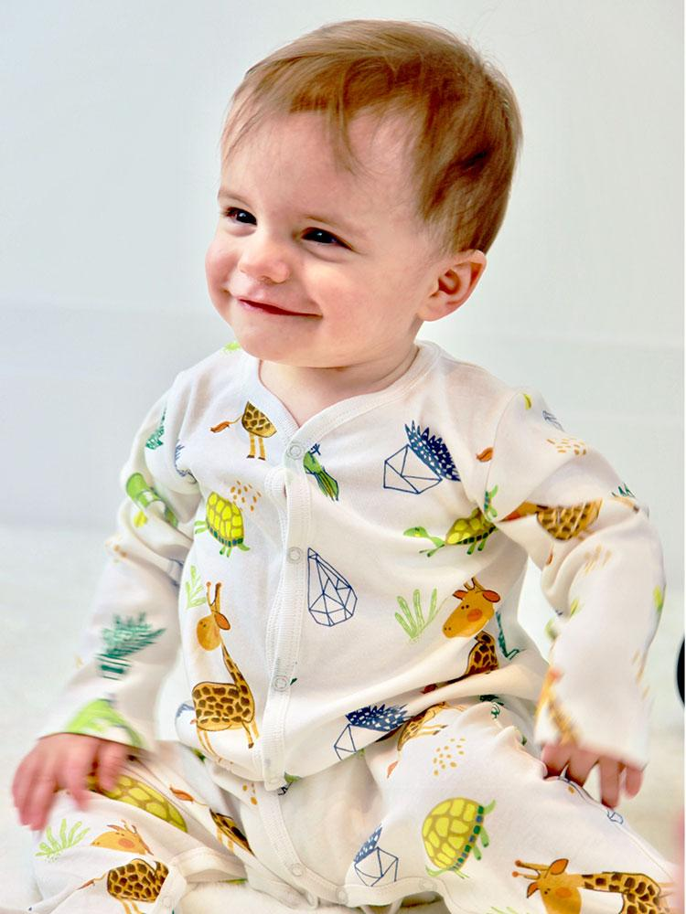 Artie - Little Zoo White Baby Footed Sleepsuit with Animal Pattern - Unisex 9-12 months - Stylemykid.com