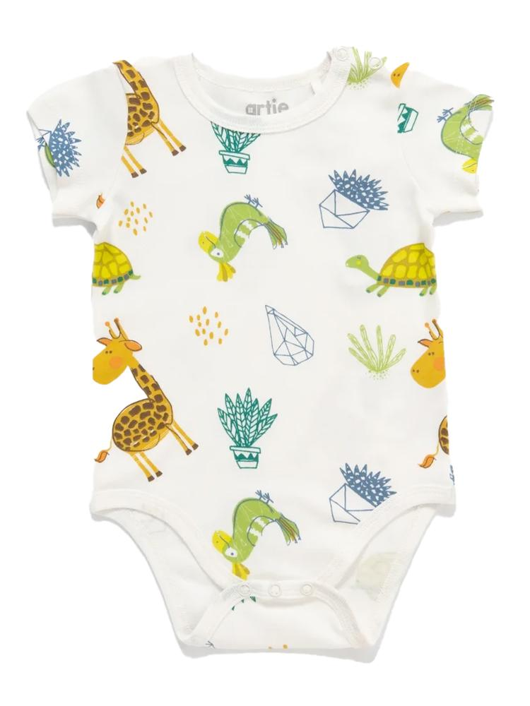 Artie - Little Zoo Animal Patterned White Romper - Stylemykid.com