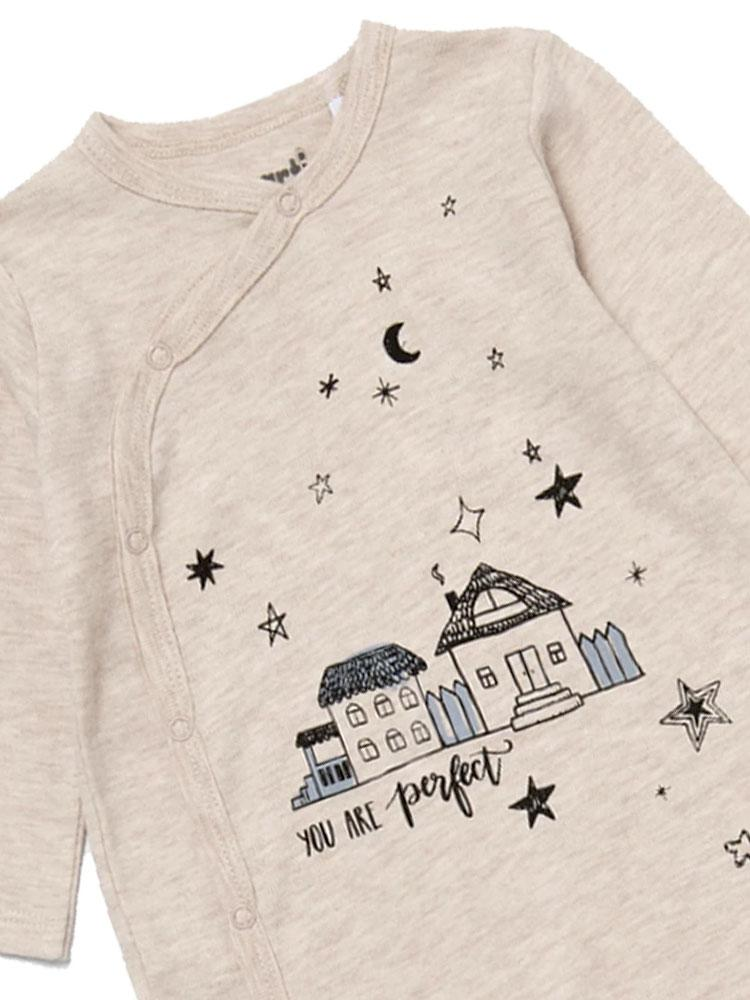 Artie - Little Night House Cream Marl Baby Sleepsuit - Unisex - Stylemykid.com