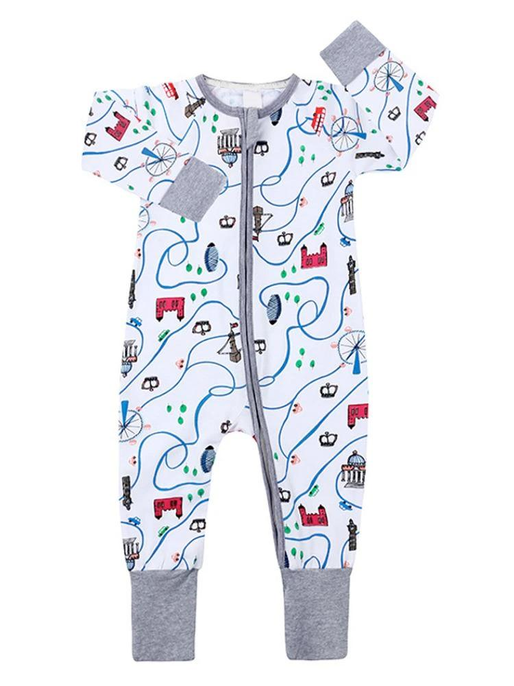 London Landmarks Baby Zip Sleepsuit with Hand and Feet Cuffs - Stylemykid.com