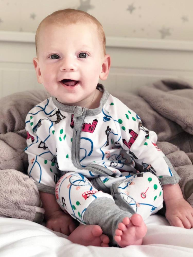 London Landmarks Zippy Baby Sleepsuit with Hand and Feet Cuffs - Stylemykid.com