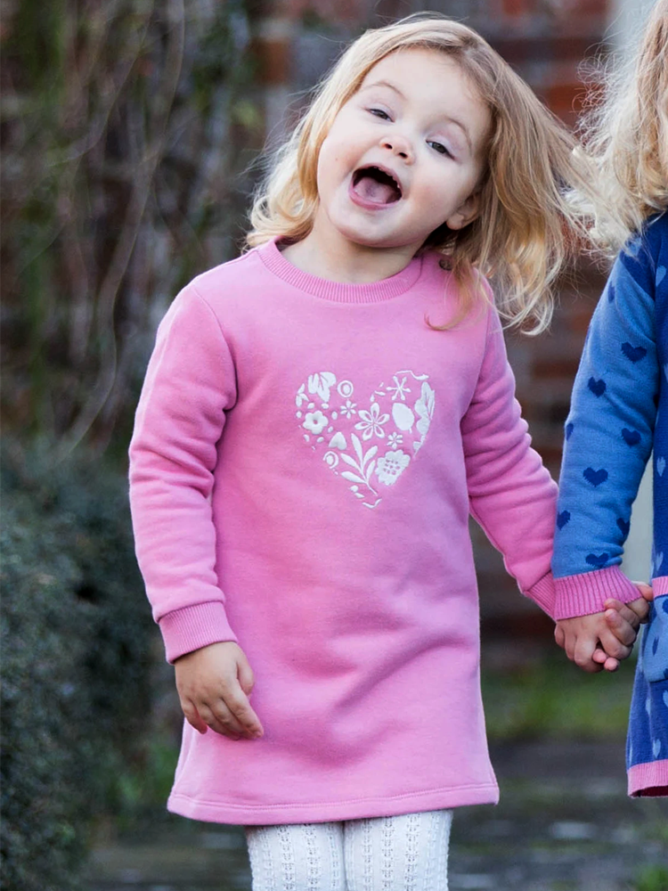 Love Leaf Dress - Organic Pink Girls Dress - Newborn to 5 years - Stylemykid.com