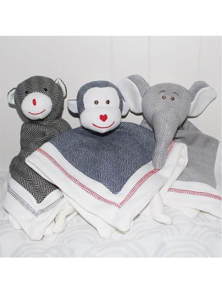 Juddlies - Lovey Baby Comfort Blanket - Organic Lake Blue Monkey - Cottage Collection