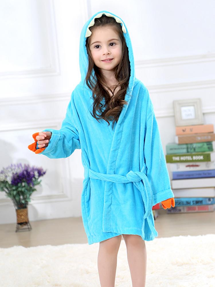 Turquiose Blue Dinosaur Hooded Dressing Gown with Spikes & Tail - Stylemykid.com