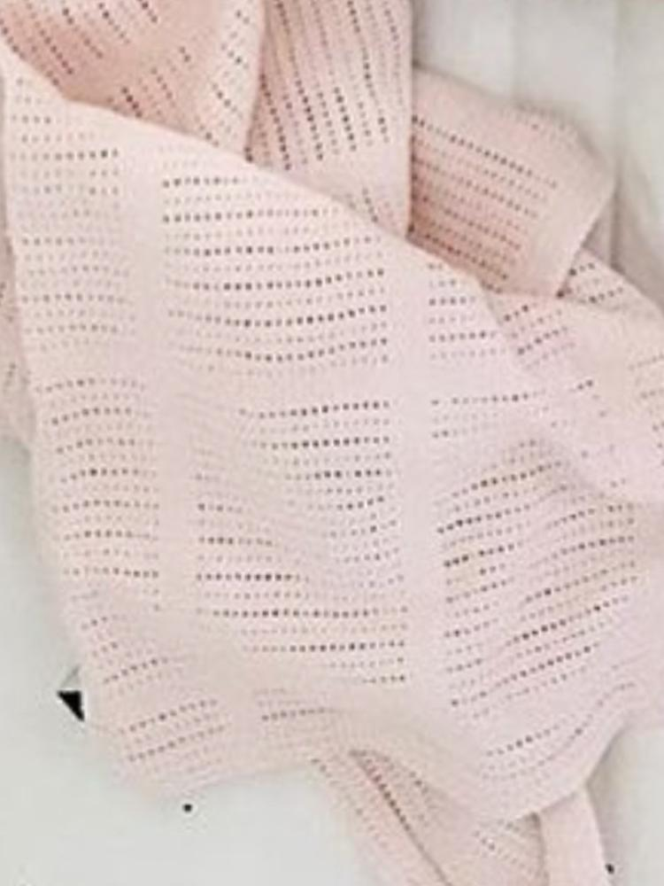 Lulujo - Pink Cellular Baby Blanket - 100% Cotton