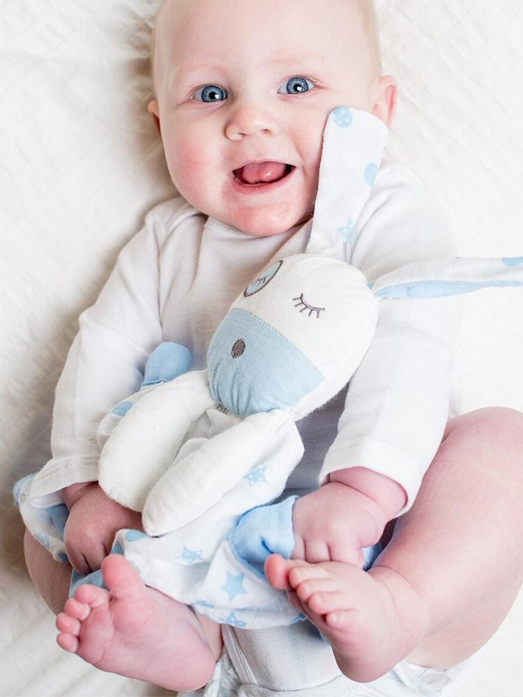 Lulujo - Cotton Baby Muslin Lovie - Blue Puppy - Stylemykid.com