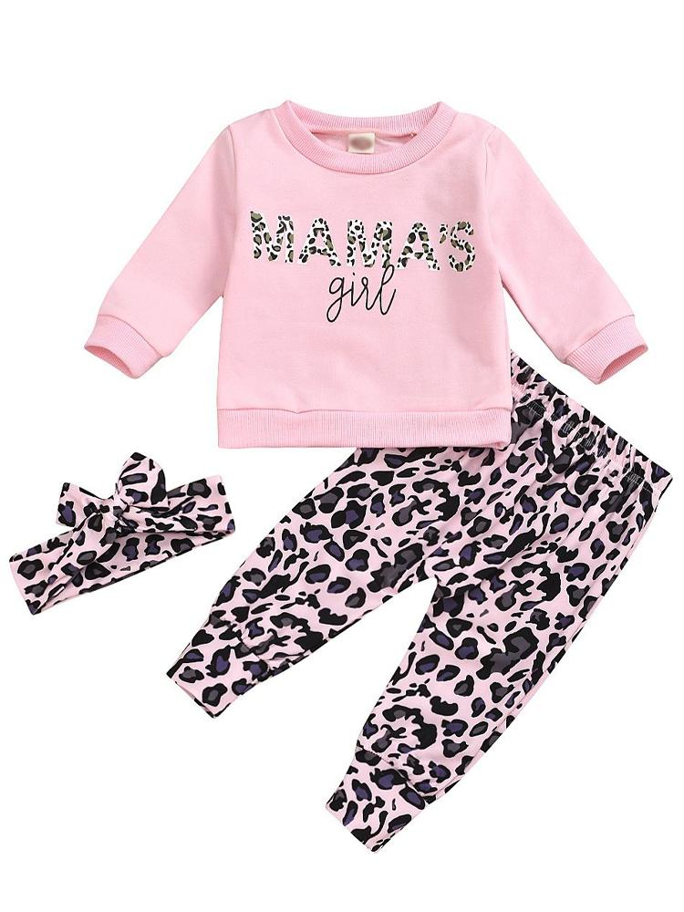 Little Mamas Girl Pink & Black Leopard Patterned 3 Piece Outfit - Top, Bottoms & Headband - Stylemykid.com