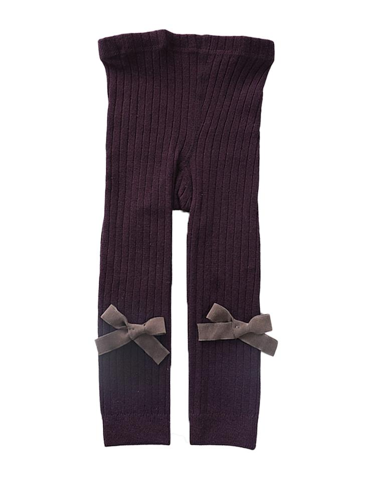 Maroon Ribbon Bow Ribbed Footless Girls Tights/ Leggings - Stylemykid.com