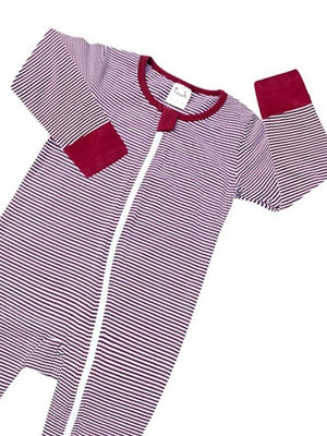 Maroon and White Stripes Zippy Baby Sleepsuit with Hand & Feet Cuffs - Stylemykid.com