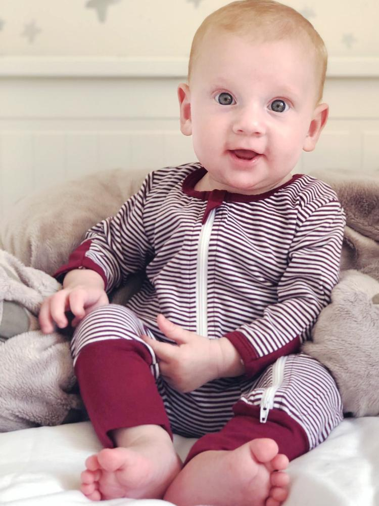 Maroon and White Stripes Baby Zip Sleepsuit with Hand & Feet Cuffs - Stylemykid.com