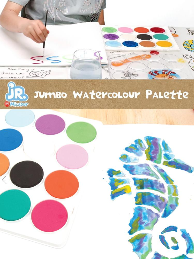 Micardor jR - Jumbo Watercolour Palette x 12 Colours & Brush - Stylemykid.com