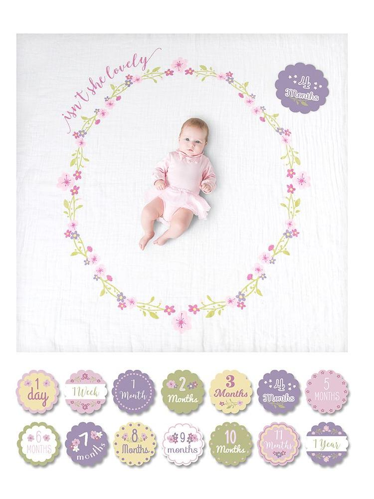 Lulujo - Baby's 1st Year Isn't She Lovely - Blanket & Milestone Cards Set - Stylemykid.com