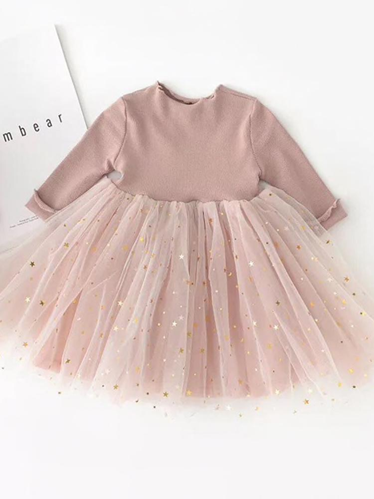 Starlight Little Girls Mink Pink Party Dress with Tulle & Gold Effects Skirt - Stylemykid.com