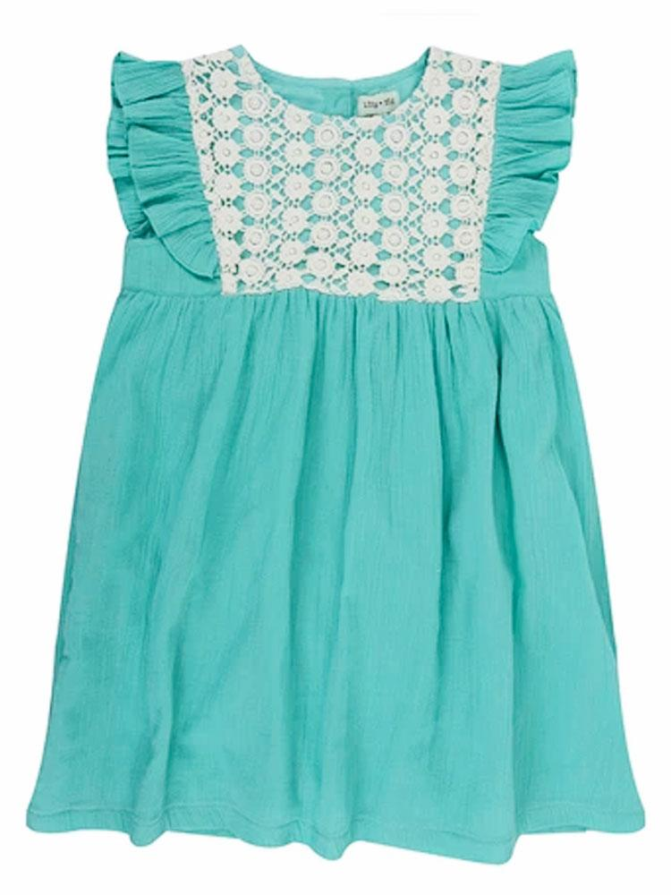 Lilly & Sid Organic Mint Green Lace Trim Dress - Stylemykid.com