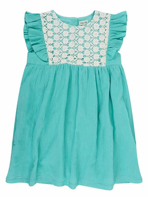 Lilly & Sid Organic Mint Green Lace Trim Baby Girl Dress - Stylemykid.com