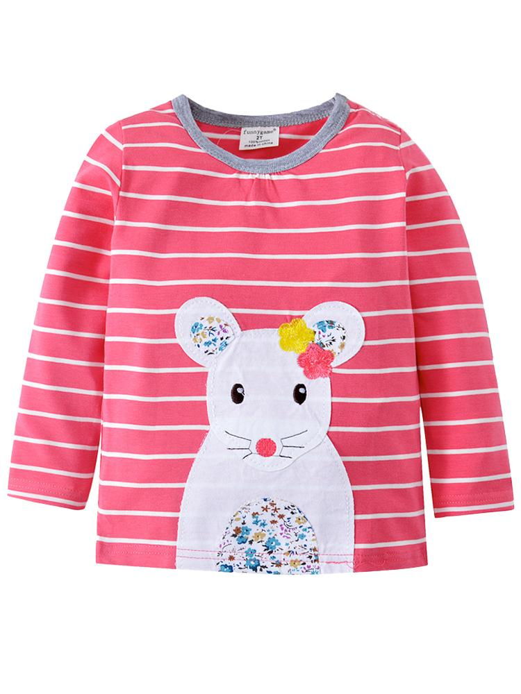 Missy Mousey Long Sleeve Girls Bubblegum Pink & White Striped Top - Stylemykid.com