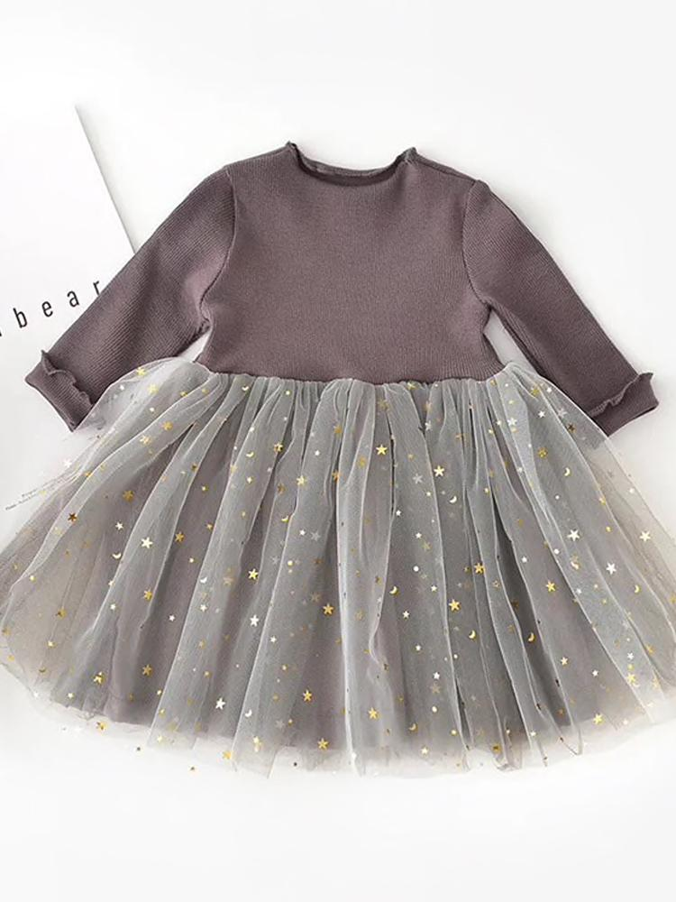 Starlight Little Girls Mocha Grey Party Dress with Tulle & Gold Effects Skirt - Stylemykid.com
