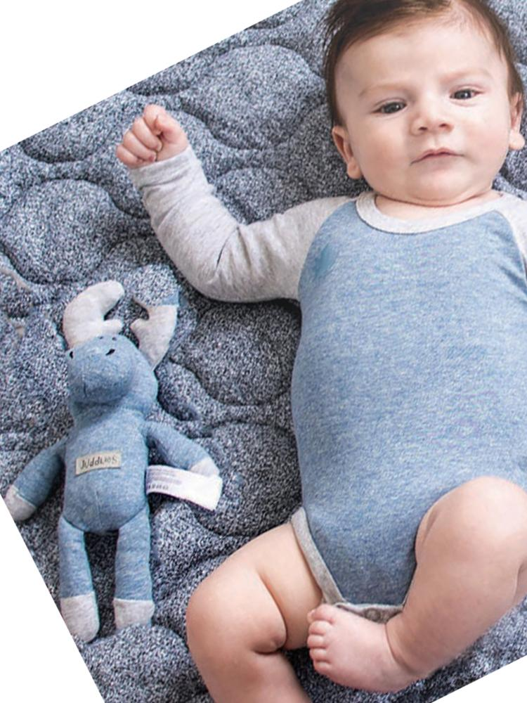 Juddlies - Baby Soft Toy Rattle Comforter - Organic Denim Blue Moose - Raglan Collection - Stylemykid.com
