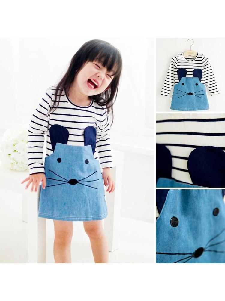 Mischievous Mouse Blue Long Sleeve Dress - Stylemykid.com