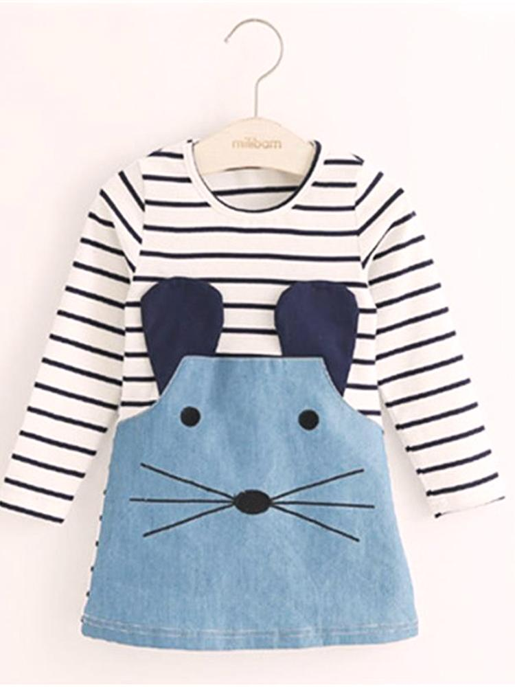 Mischievous Mouse Blue Striped Girls Dress - Stylemykid.com
