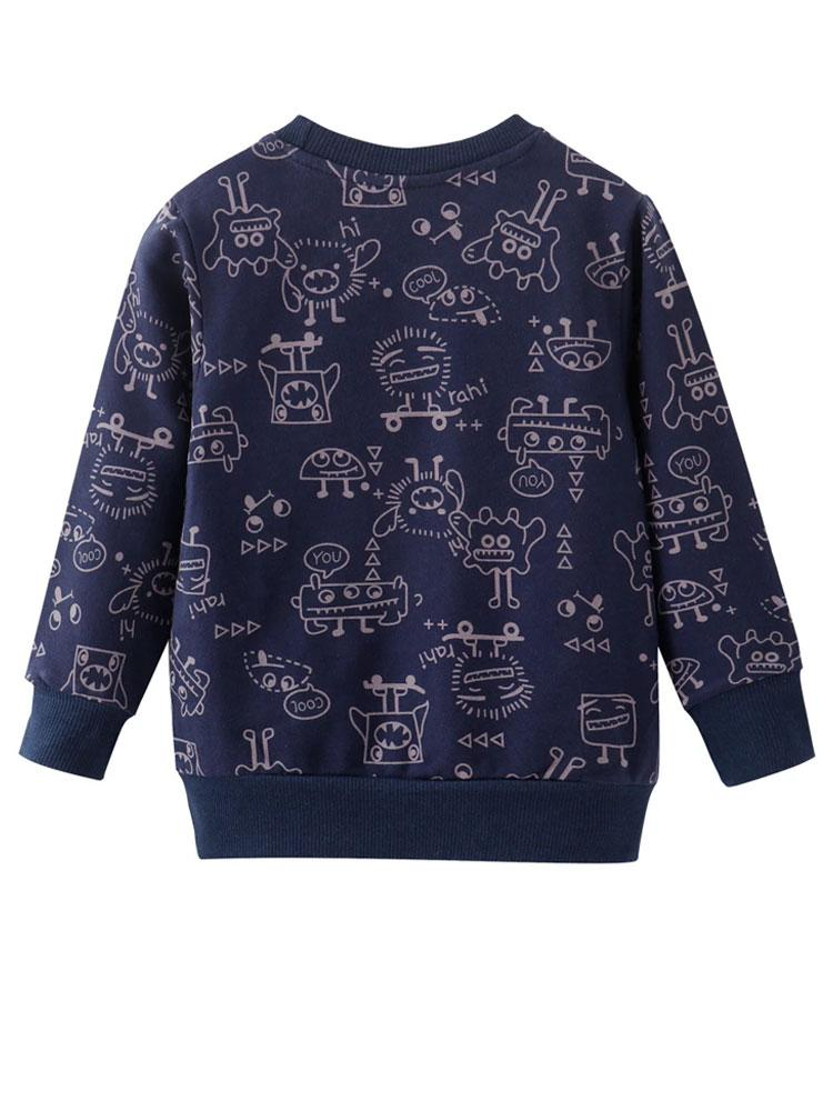 Mr Robot Boys Blue Jumper with Robot Design - Stylemykid.com