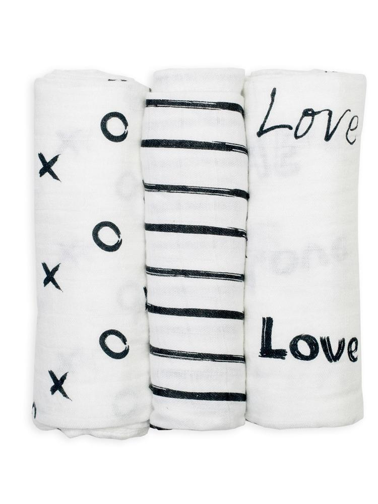 Lulujo - Mini Muslin Cloth 3 pack - Modern Black & White - Stylemykid.com