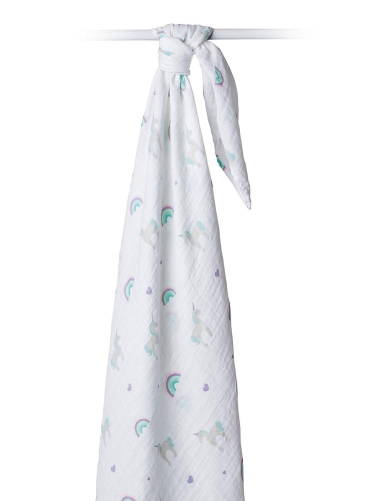Lulujo - Large Muslin Swaddle - Unicorns - Stylemykid.com
