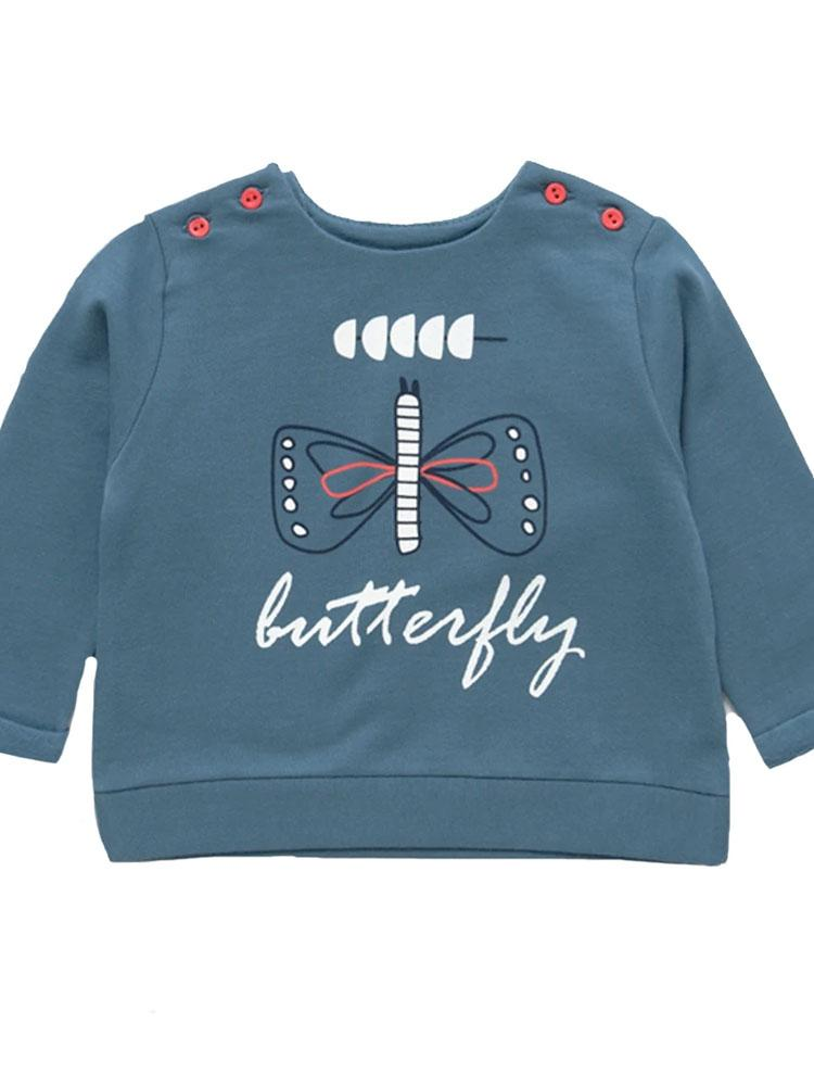 Artie - My Little Butterfly -  Blue French Terry Baby Jumper (3-9 months) - Stylemykid.com