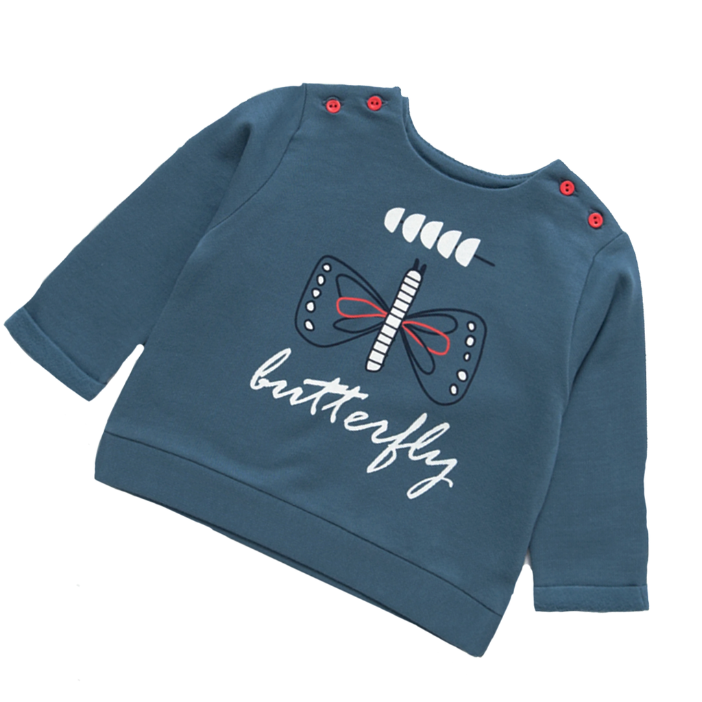 My Little Butterfly Blue French Terry Jumper - 3 months to 3 years - Stylemykid.com