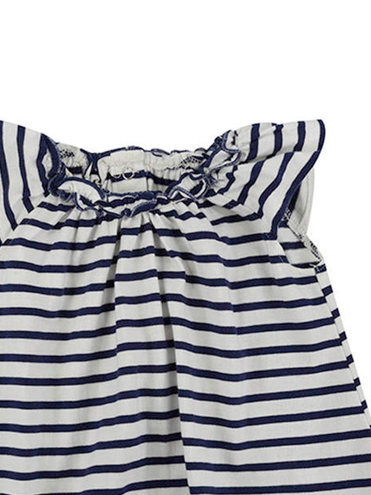 Lilly & Sid Organic Pretty Gathered Striped Navy Dress - Stylemykid.com