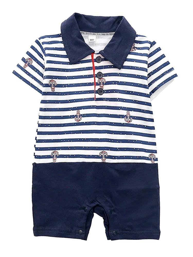 Nautical Stripey Romper - Polo Shirt Style Navy and White All-In-One - Stylemykid.com
