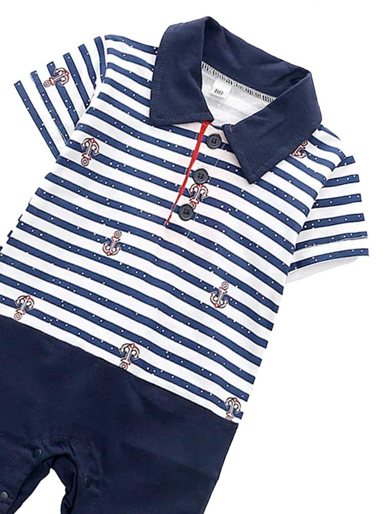Nautical Stripey Romper - Polo Shirt Style Navy and White All-In-One 0-6 months - Stylemykid.com