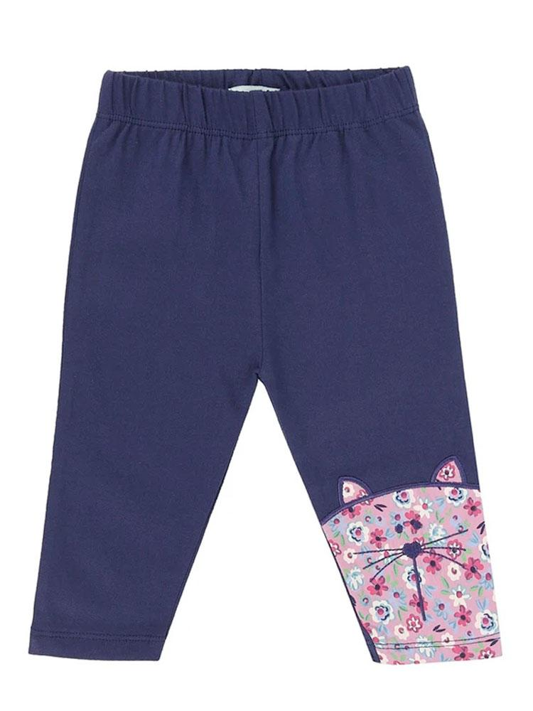 Lilly & Sid Organic Navy Character Baby Leggings (0-3 months) - Stylemykid.com