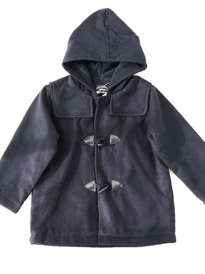 BabyBol - Navy Blue Hooded Duffle Coat - Stylemykid.com
