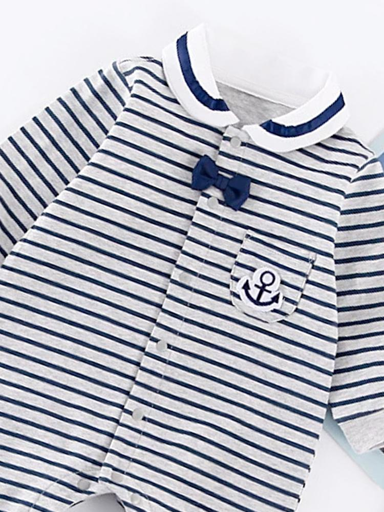 Navy Stripes & Bow - Gorgeous Striped Onesie - Stylemykid.com