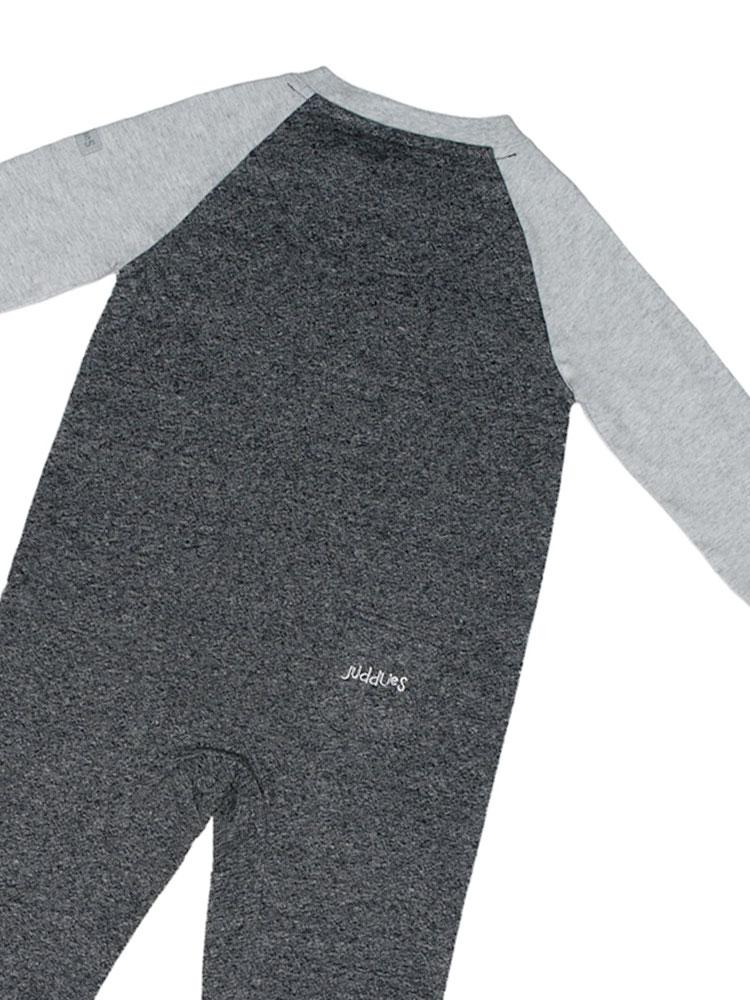 Organic Graphite Grey Raglan Sleepsuit with Double Zipper & Fold Over Feet and Cuffs - Stylemykid.com