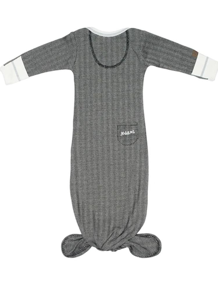 Juddlies - Newborn Organic Fishtail Knotted Baby Nightgown - Bear Black - Cottage Collection - Stylemykid.com