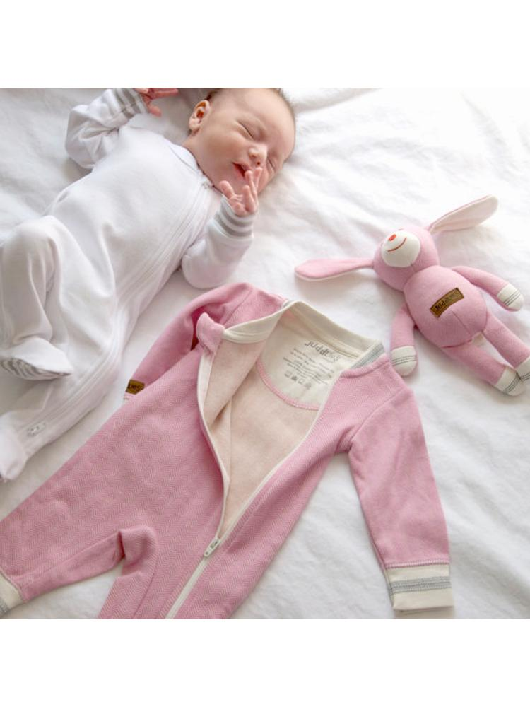 Juddlies - Organic Sunset Pink Baby Sleepsuit/  Playsuit - Cottage Collection - Stylemykid.com