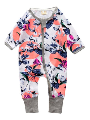 Oriental Flowers - White & Grey Baby Zip Sleepsuit with Turnover Hand & Feet Cuffs - Stylemykid.com