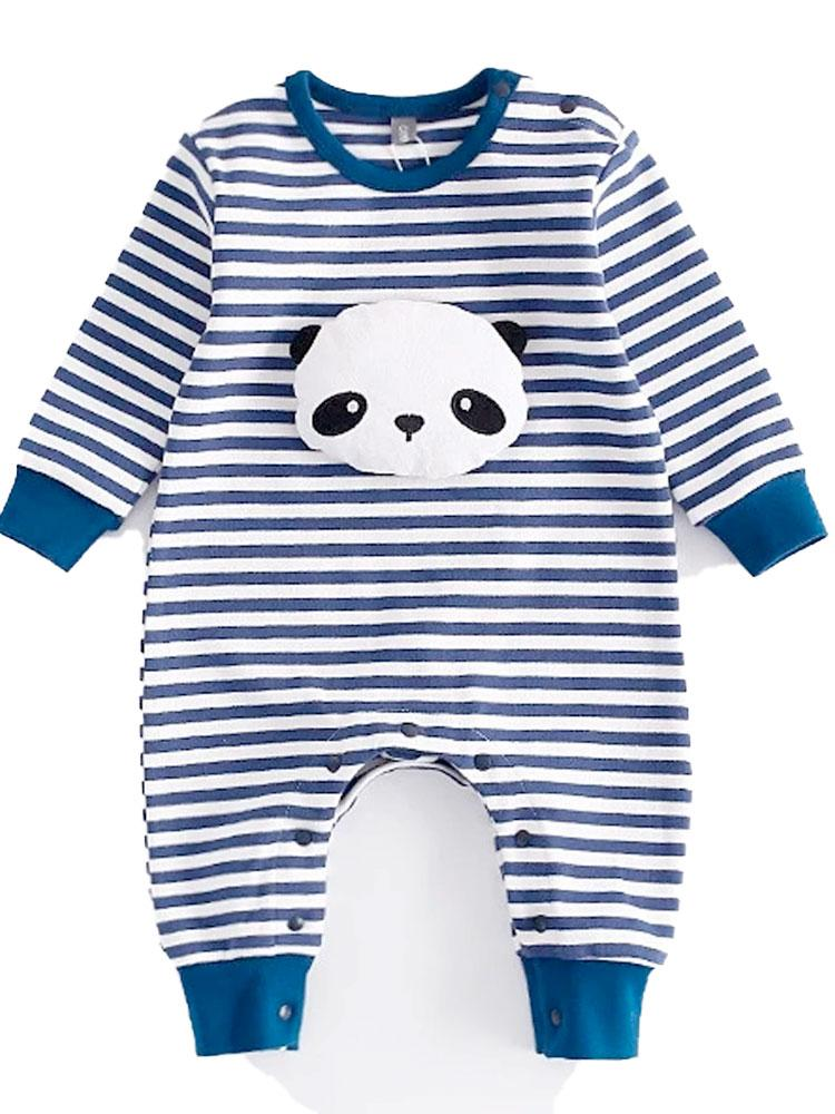 Padded Panda Romper - Blue and White striped Panda Onesie - Stylemykid.com