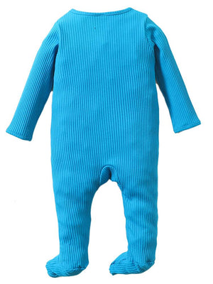 Bright Blue Footed Ribbed Baby Zip Sleepsuit - 0 to 6 months - Stylemykid.com