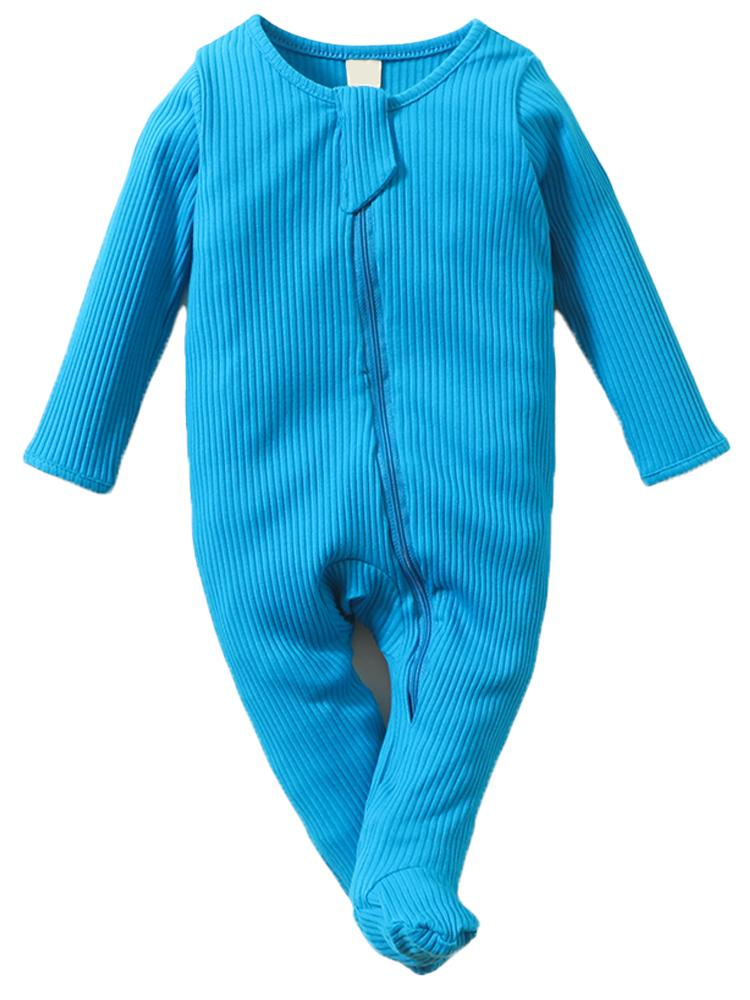 Bright Blue Footed Ribbed Zippy Baby Sleepsuit - 0 to 6 months - Stylemykid.com