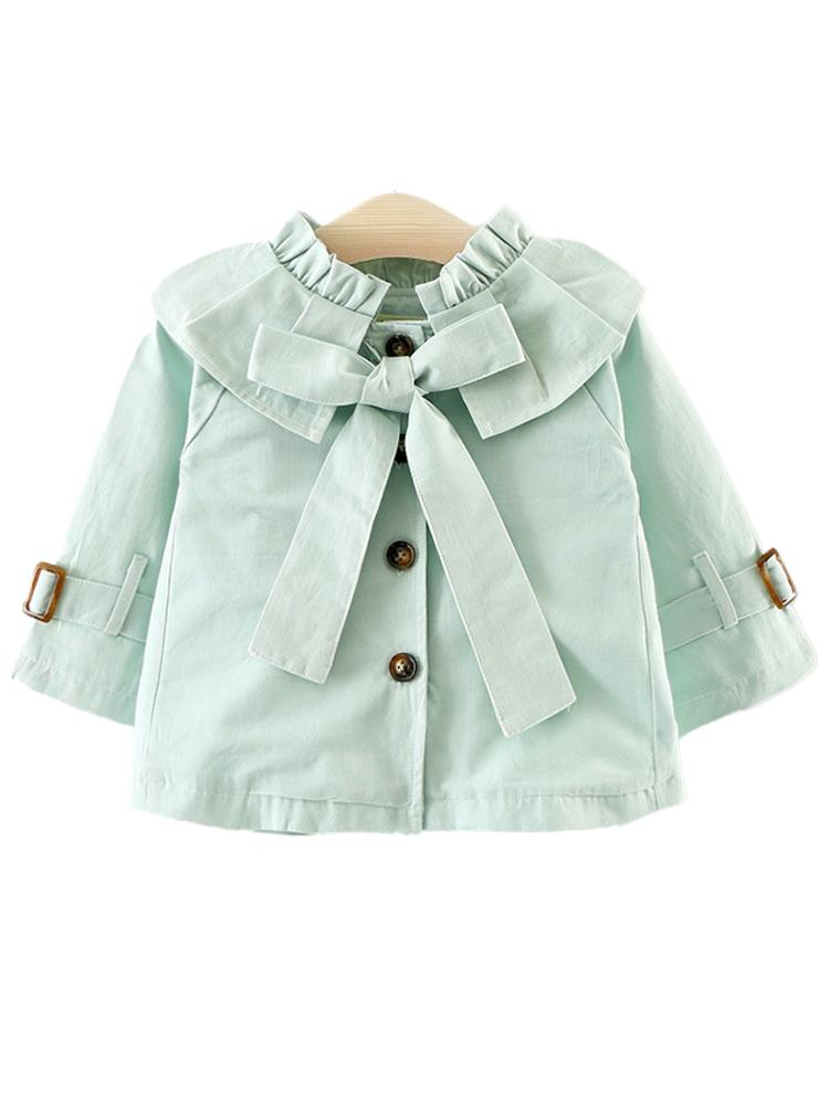 Pale Blue Buckle & Bow Girls Mac with Frill Collar - Stylemykid.com